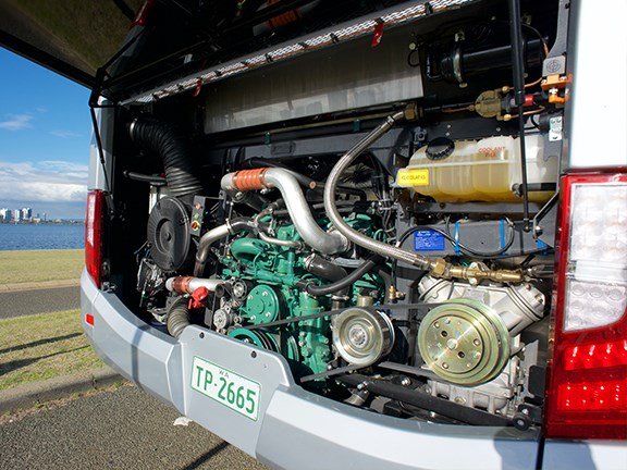 The Volvo D8 320hp engine has plenty of grunt