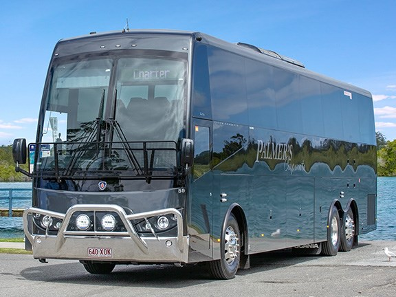 The Scania K450 coach has a sharp looking exterior