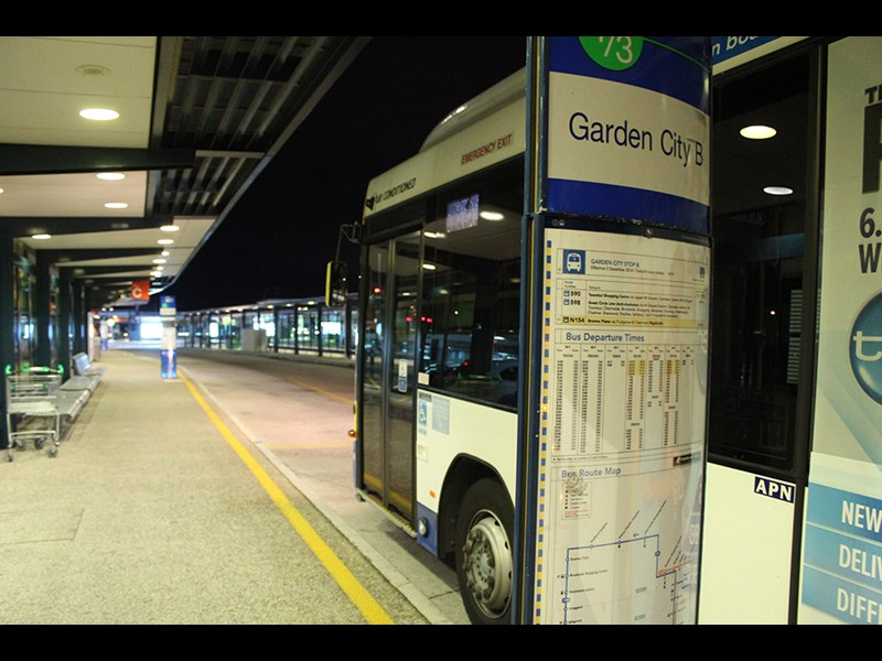 The aboveground bus station at Westfield Garden City