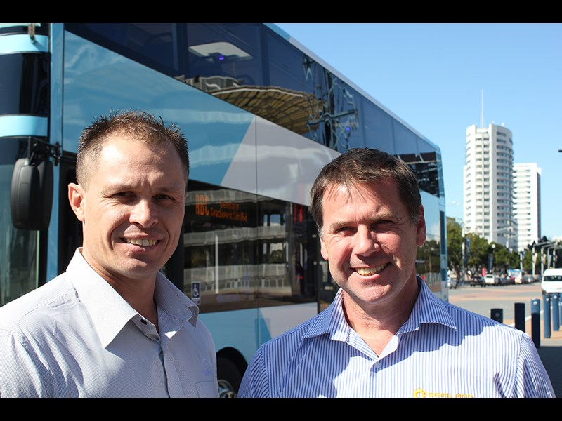 MAN Bus Australia's Clint Stoermer (left, ie tallest) and Gemilang Australia's Michael Neal