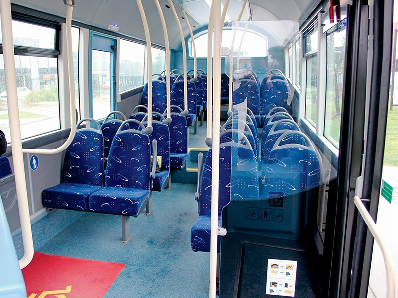 There is plenty of space and light for passengers aboard the Wrightbus Streetlife midi bus.
