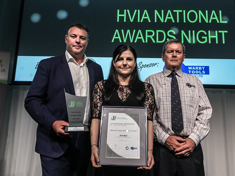 2016 HVIA National Apprentice of the Year Zoe Bull with award sponsor NTI's Craig Carmody (left) and prize sponsor Doug Warby of Warby Tools.
