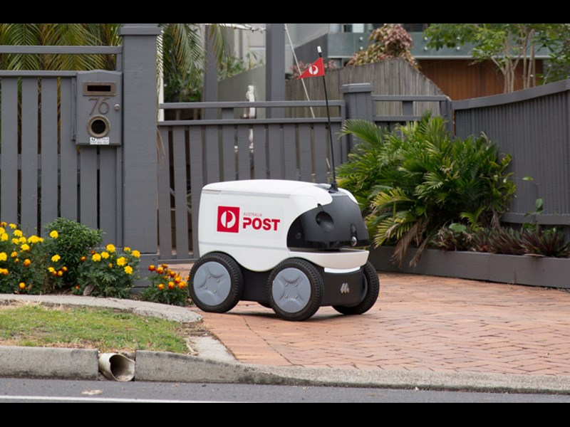 Delivery robot on the job in Brisbane.