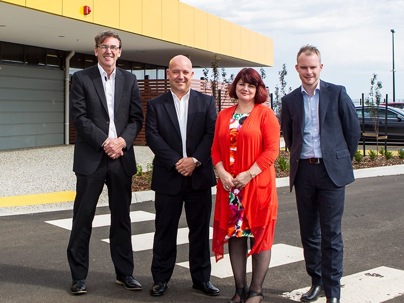 L-R) CP CEO Mark McGinley, CP Victorian State Manager Paul Roper, Wyndham City Deputy Mayor Councillor Kim McAliney, and Charter Hall Senior Property Manager – Industrial Dominic Meese