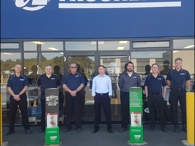 Territory business manager Brett Williams (centre) and branch sales manager Brad Wood (third from right) with the WA sales team outside the new Bunbury branch.