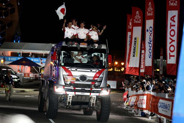 Hino Team Suguwara members bask in the glory at the finish ceremony