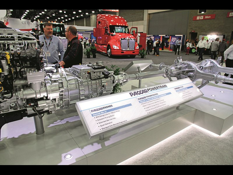 Paccar Powertrain, Kenworth and Peterbilt were pushing the all-Paccar barrow, but it's a marketing mirage. The engine is Paccar's MX, but make no mistake, the automated transmission comes from Eaton and the drive tandem from Meritor.