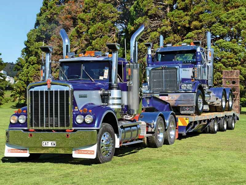 Bryce O'Sullivan Contracting's Western Star was piggybacked by their very cool W-Model Kenworth