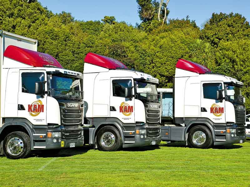 An all-Scania line-up from Wellington-based KAM Transport