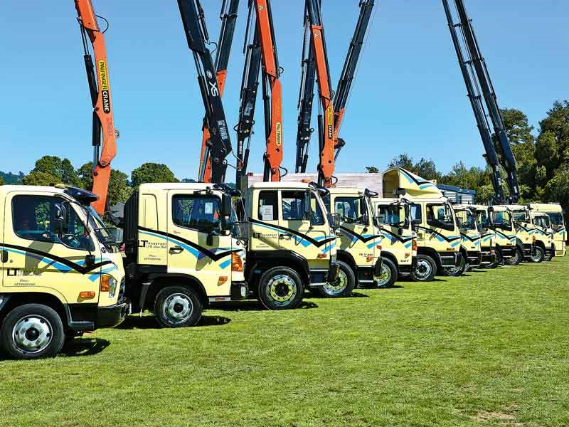 Lower Hutt-based carrier LT Transport's line-up, which also took care of the crane salute