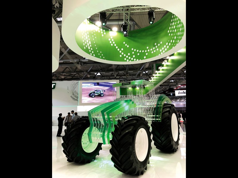 BKT Tires displays plexiglass dump truck and tractor
