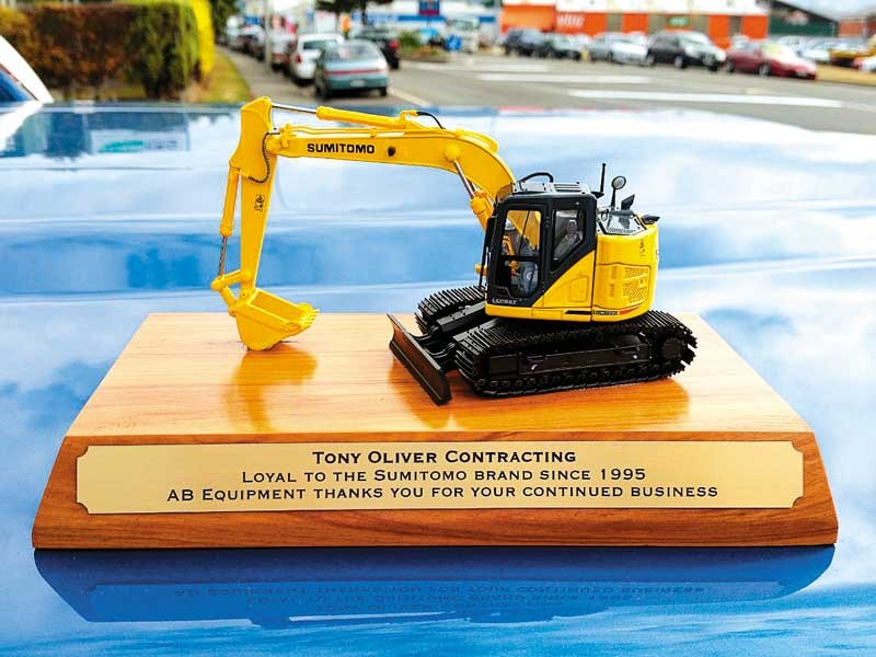 A plaque from AB Equipment to recognise thier 20 year business partnership with Tony Oliver Contracting