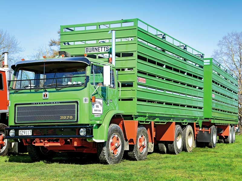 Gerard Daldry had his beautifully restored full sized replica of a Burnetts Motors International Acco livestock truck on display