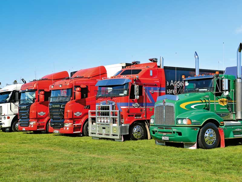 Johnston Trucking and Johnstone Bulk Cartage lined up together to be admired
