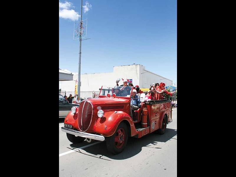 Restored Ford V8 vintage fire truck