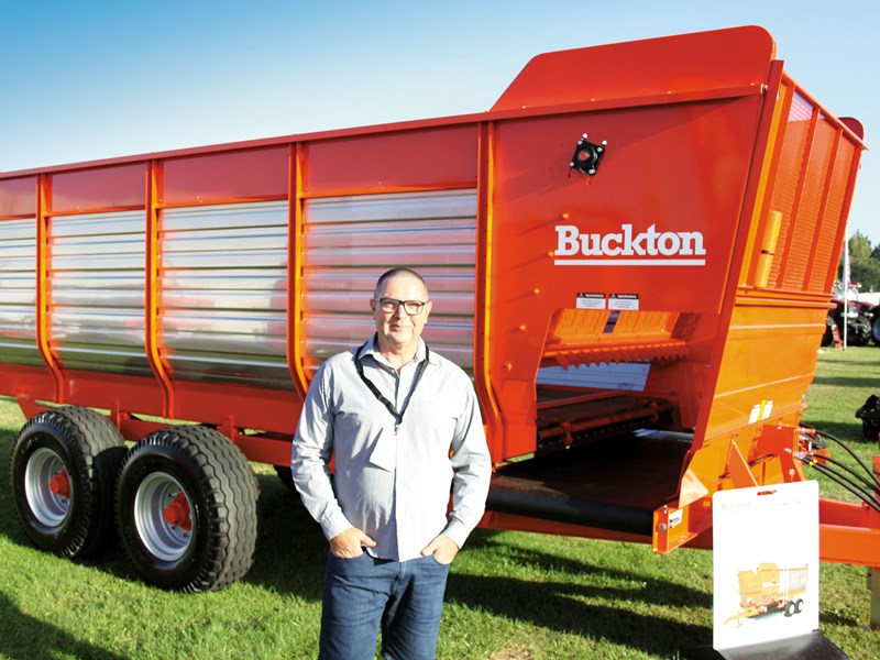 Buckton s Garth Pritchard with NZ made Buckton forage wagon