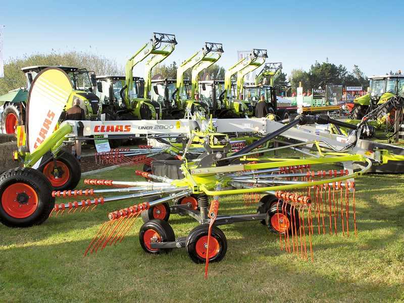 The Claas liner with Claas tractors in the background
