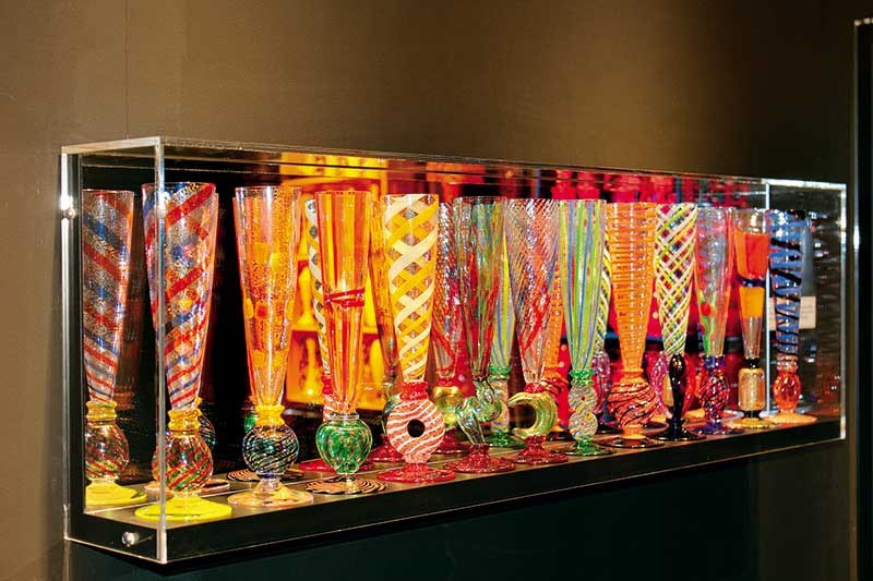 Champagne flutes from Murano in Italy