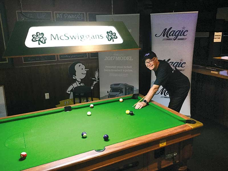 Murray working on his pool game at McSwiggan s Irish Pub in Tauranga