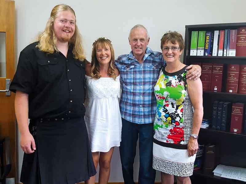 Us with our witnesses Bevin the campground caretaker and wife Amy