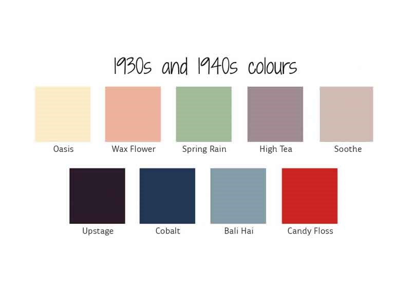 1930s and 1940s colours