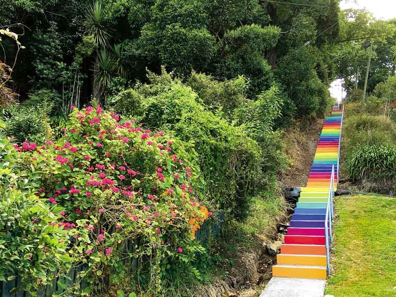 Rainbow steps on one of the town s walkways