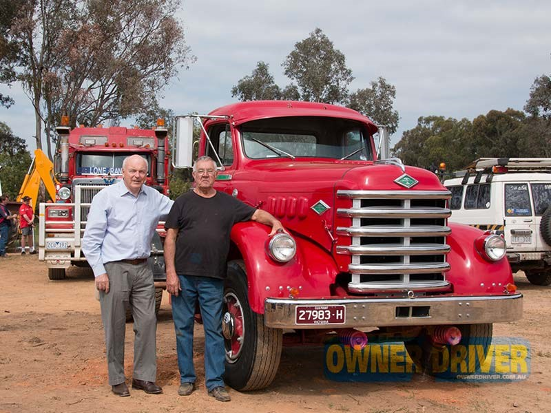 Swampy Millsteed (right) took his 1958 Diamond T 630 to the opening. The truck was previously owned by Denis Robertson (left).