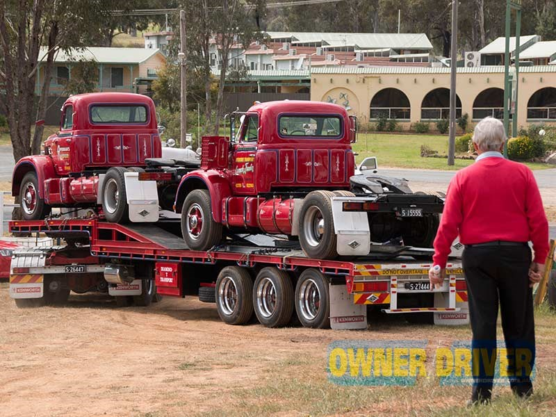 George Goold watches two of his Diamond Ts leave the museum grounds.