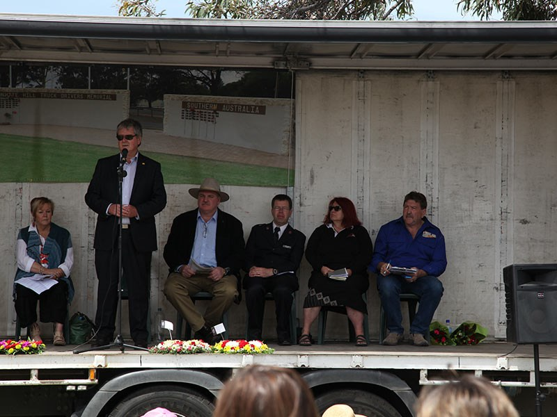 Guests on the back of a tautliner. (Left to Right): Bette Phillips, Brenton Lewis (Mayor Murray Bridge), Aaron Petherick (MP), Tim Watson (Salvation Army), Liz Martin OAM and Kevin Wood, founder and president White Hill Truck Drivers Memorial.