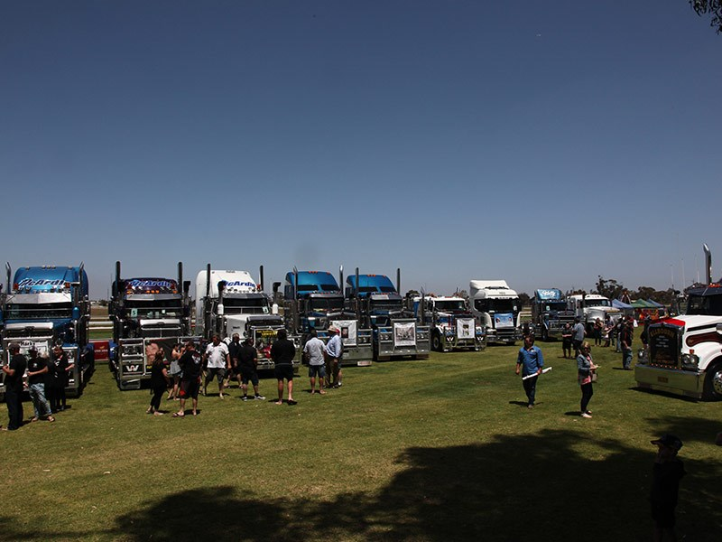 The trucks gathered at the Murray Bridge racecourse.