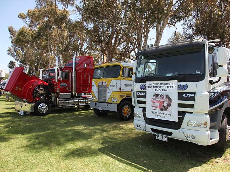 Kym Whitrow's yellow and white K125 KW was handed the 3rd place in the Best Vintage Truck comp and Whity's Earthworks DAF  8x4, driven by Tania Whitrow, was the winner of the Best Rigid Truck award.