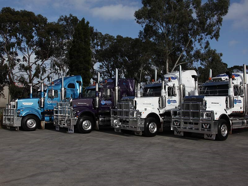 McArdle's Freight's Western Star trucks at the BP prior to the start.