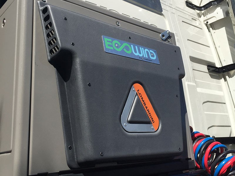 "A diesel powered ""Ecowind"" system on the ATA's Volvo safety truck."