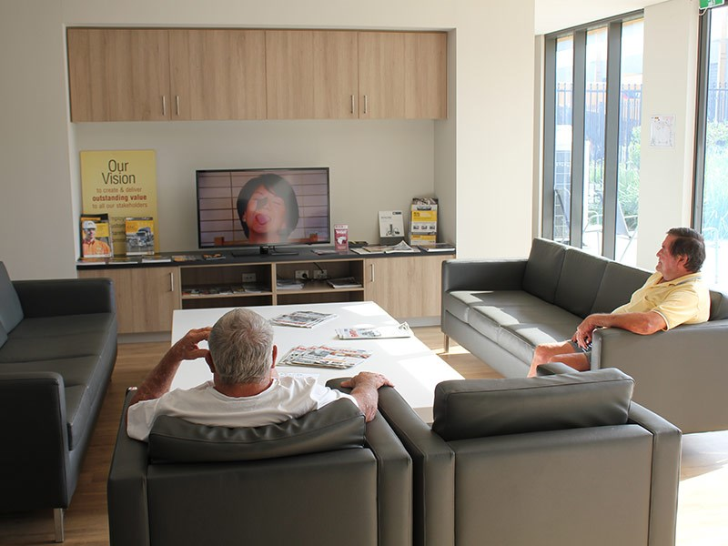 Relaxing in air-conditioned comfort at Westrac Hexham.