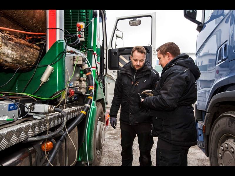 Filip Strandberg and Peter stberg from powertrain testing company AVL checking the test equipment low res