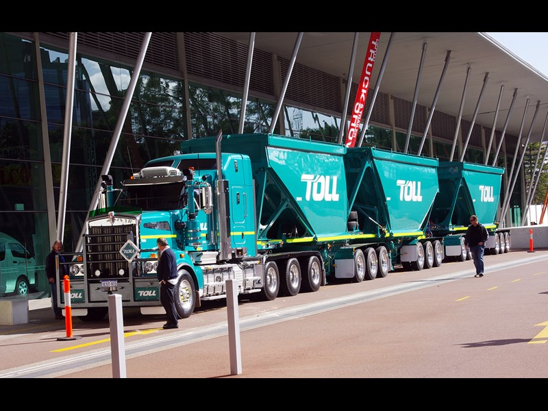 A Toll triple road train greeted visitors to the Perth Convention and Exhibition Centre