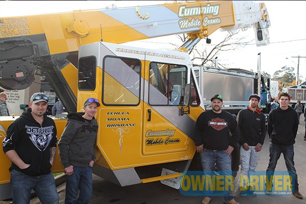 Andrew Mundy, Glenn Cumming, Steve Vernon, Luke Vernon and Jack Healey had fun at Alexandra, crawling over a 2005 model Franna crane owned by Cumming Mobile Cranes.