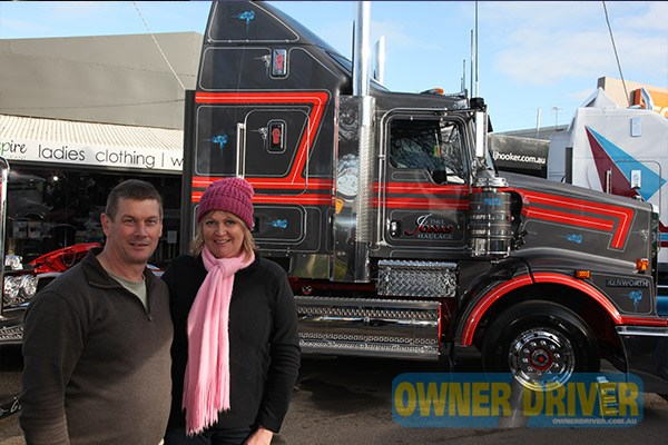 Darryl and Leanne Jonas drove their two day-old Kenworth T659 to Alexandra.