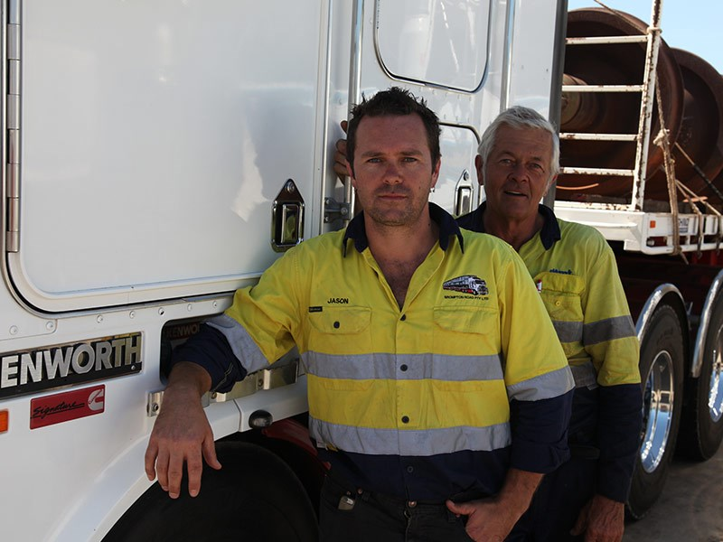 Jason and Charlie Berne of WA family transport business Brompton Road.