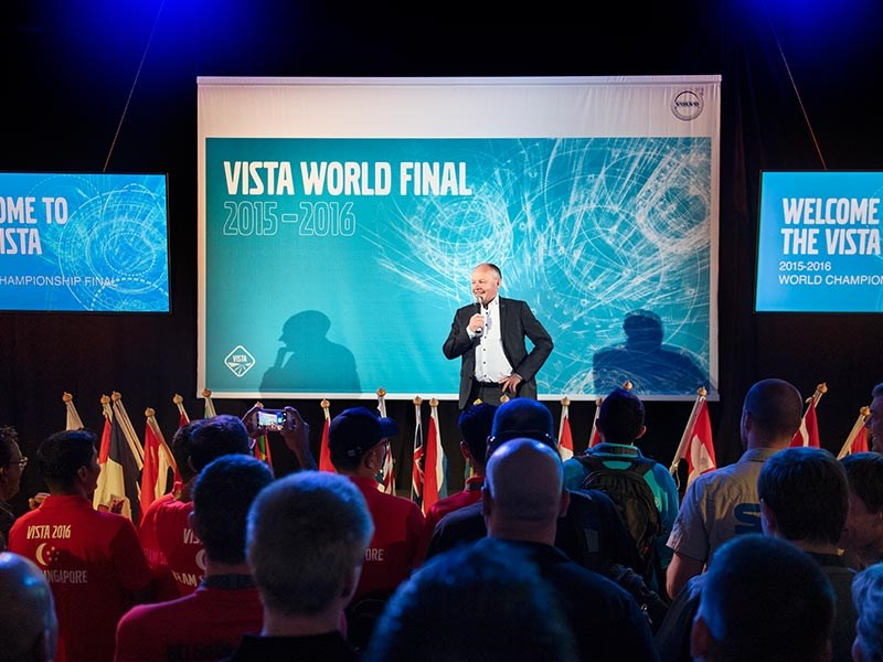 Volvo Trucks president Claes Nilsson welcomes the Vista competitors to Gothenburg.