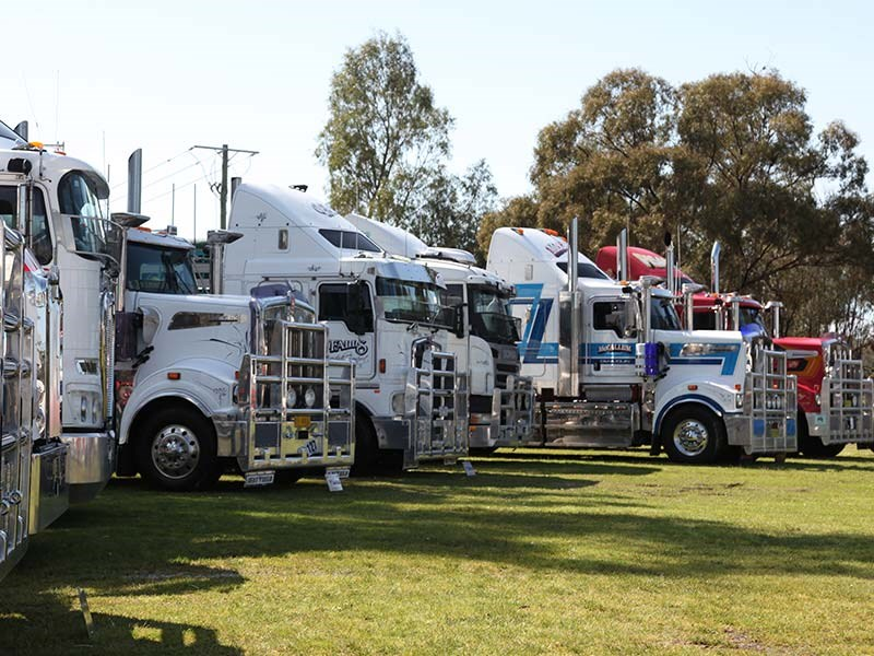 Part of the truck line-up along the Edward River's banks.