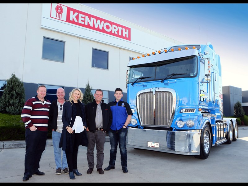 From left Wayne Hawkes Matt Wood Jane Hawkes Kenworth salesman Ron Ludbrook and operations manager Dayne Ilse with the Woody Wagon