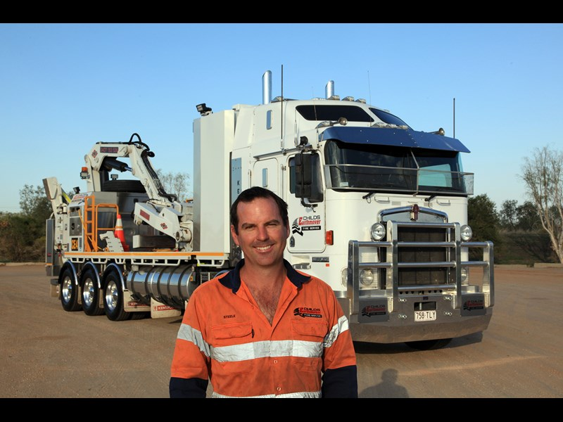 Steele Childs operates Childs Earthmover Tyre Service with his wife Angie