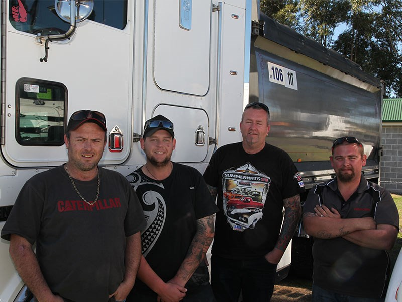 Left to right: Nick Wilson, Stephen Perry, Les Seach and Nick Marusic brought along four trucks from the 25-strong Borg Civil fleet.