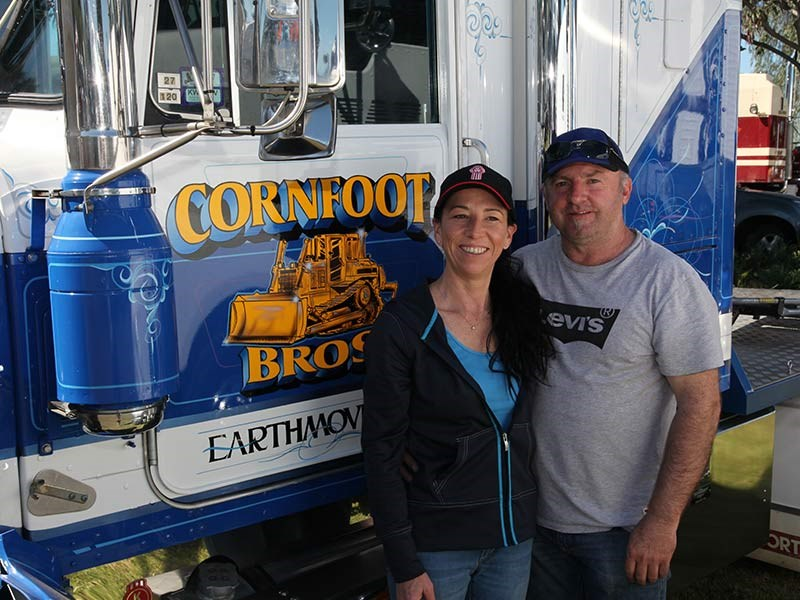 Norm Cornfoot and Fiona Stirling from Cornfoot Bros Earthmoving.
