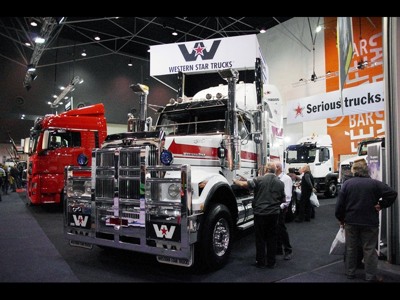 The Penske stand featured Western Star and MANs