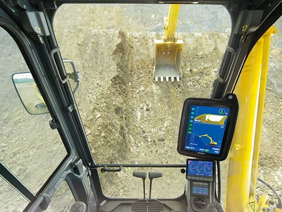 In-cab view of Komatsu Intelligent Machine Control system