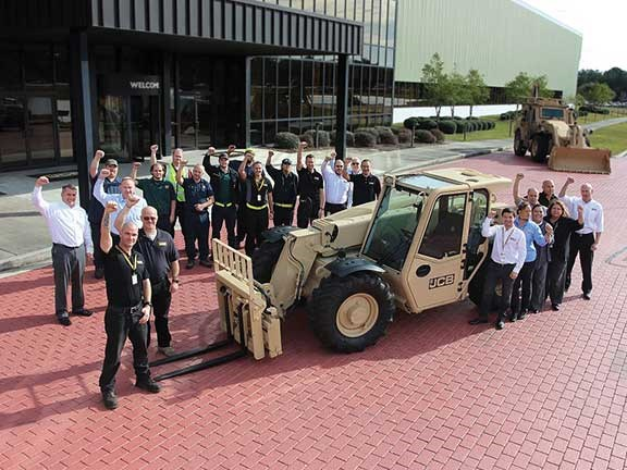 Group of staff at JCB headquarters