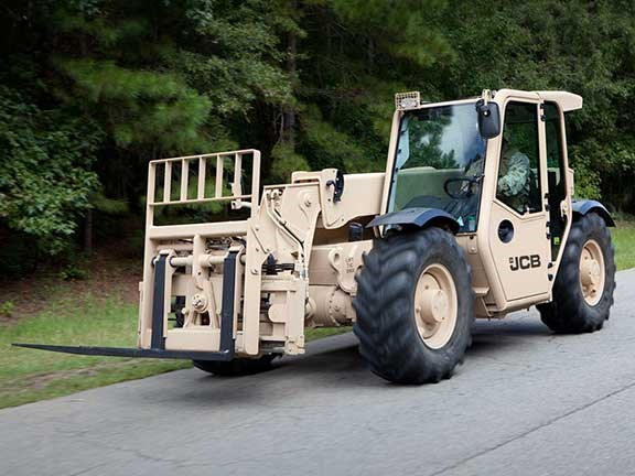 JCB military telehandler on road