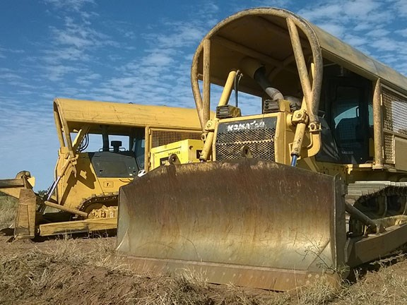 Komatsu D85 dozers on the 11,000ha Trebarney Station in Outback Queensland